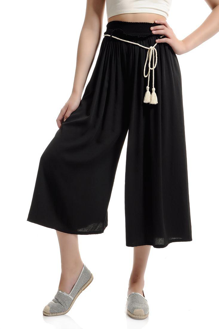 Siyah Viskon Capri Kesim Pantolon