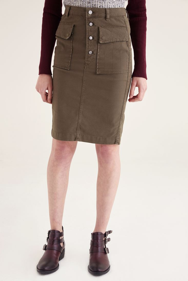 Green four-button front skirt