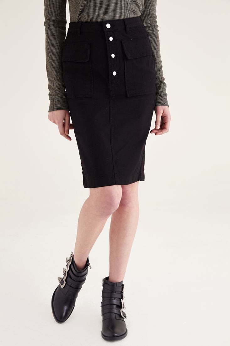 Black four-button front skirt