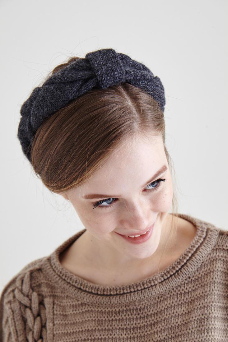 Bayan Gri Örgü Saç Bandı