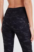 Bayan Siyah Kamuflaj Desenli Dar Paça Pantolon