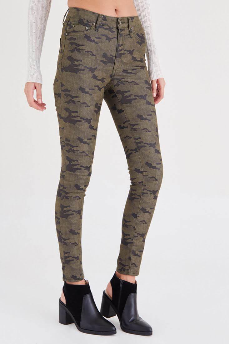 Bayan Çok Renkli Kamuflaj Desenli Dar Paça Pantolon