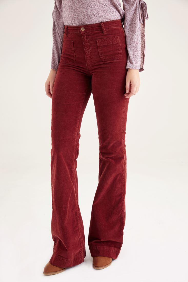 Bayan Kırmızı Kadife Önden Cepli Ispanyol Paça Pantolon