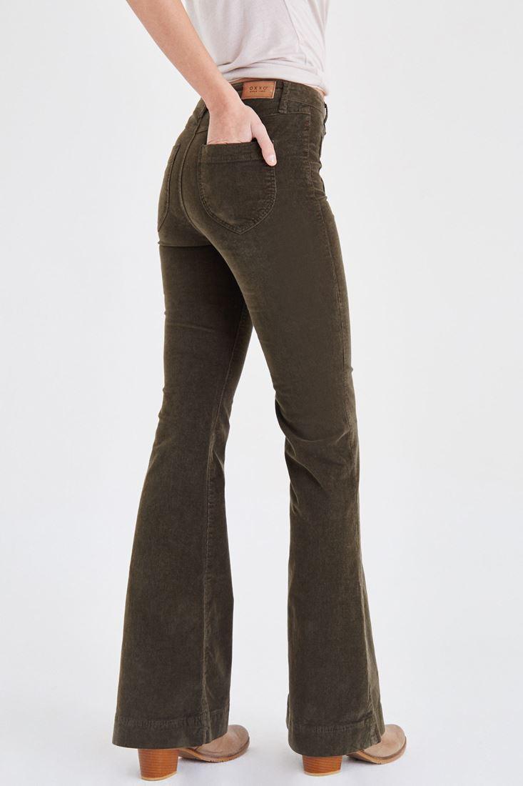 Bayan Yeşil Kadife Önden Cepli Ispanyol Paça Pantolon
