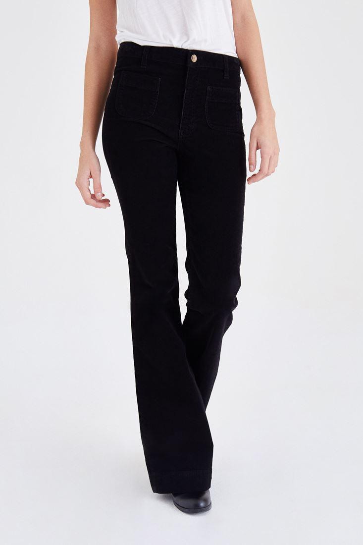 Bayan Siyah Kadife Önden Cepli Ispanyol Paça Pantolon
