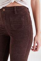 Bayan Kahverengi Kadife Önden Cepli Ispanyol Paça Pantolon