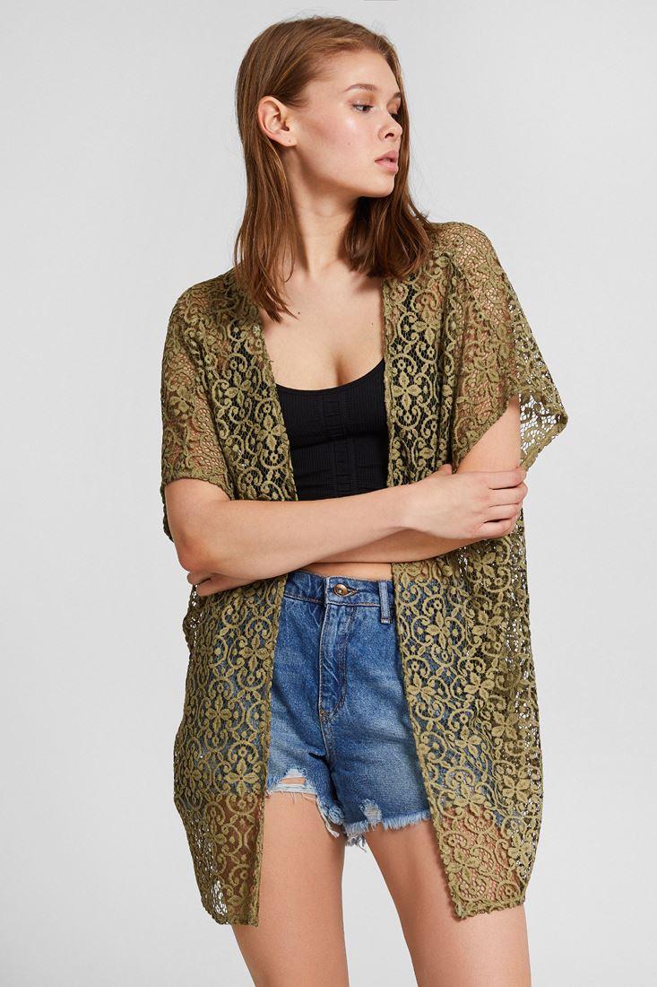 Yeşil Dantelli Kimono Ceket