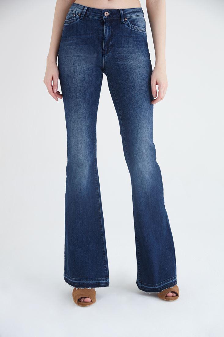 Bayan Mavi Yüksek Bel Flare Jean