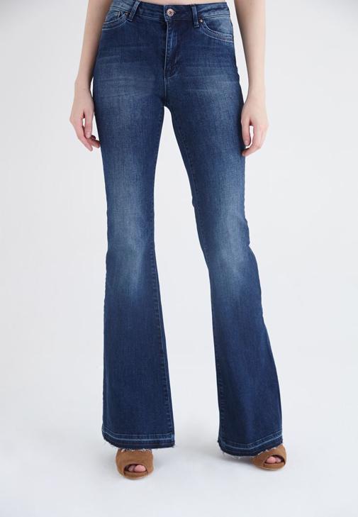 Mavi Yüksek Bel Flare Jean