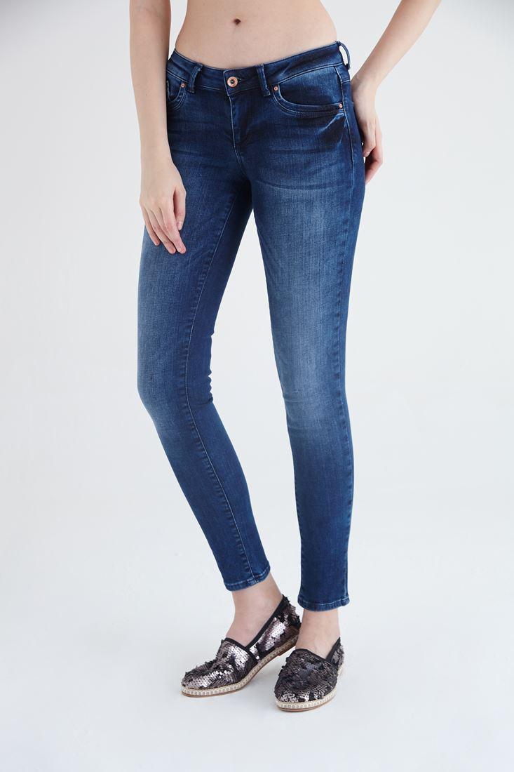 Bayan Mavi Beli Düşük Skinny Pantolon