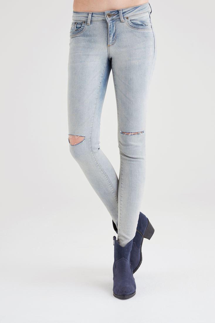 Mavi Beli Düşük Skinny Pantolon