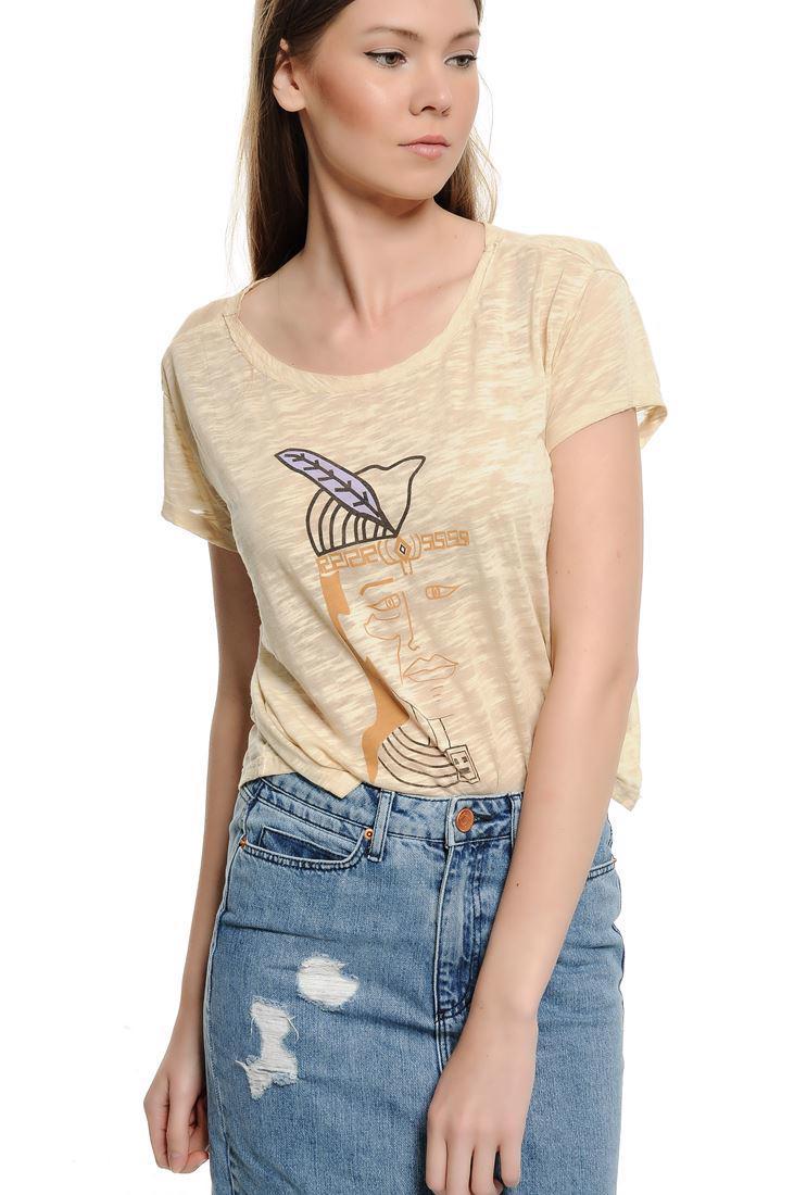 Bayan Krem Yüz Baskılı Kısa Tişört