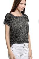Bayan Siyah Dökümlü Kısa Tişört