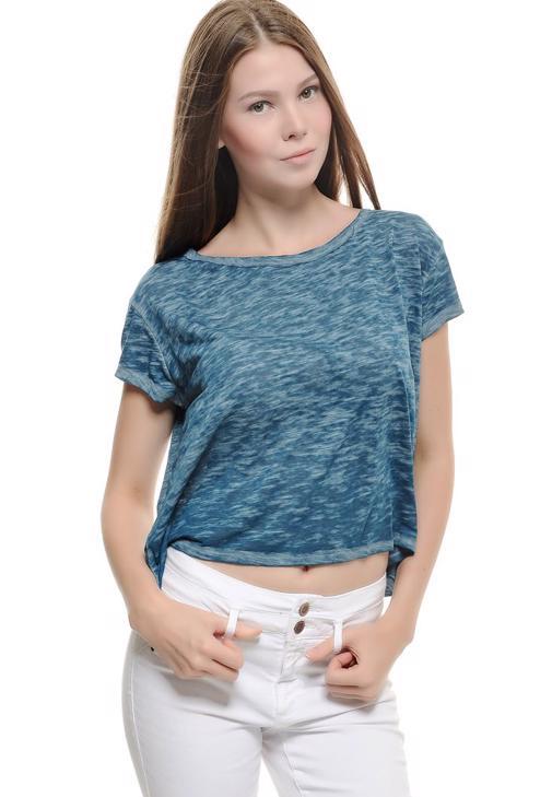 Mavi Dökümlü Kısa Tişört