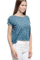 Bayan Mavi Dökümlü Kısa Tişört