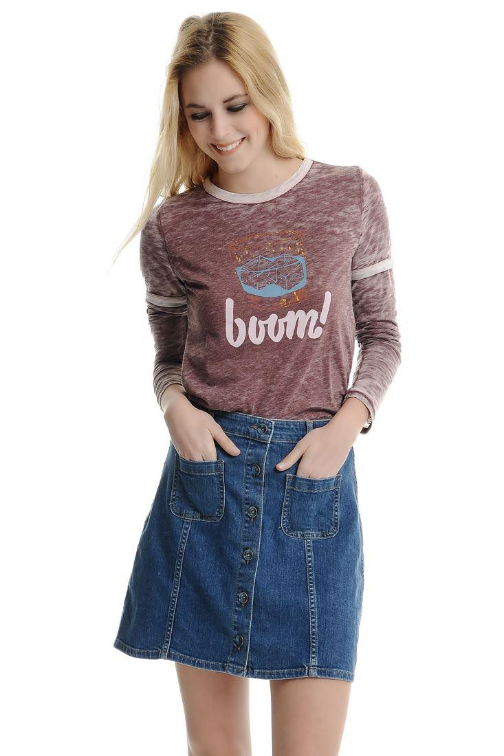 Bayan Bordo Önü Baskılı Tişört
