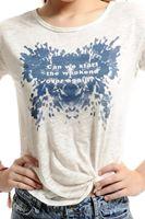 Bayan Beyaz Slogan Baskılı Tişört