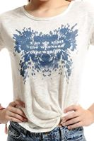 Bayan Krem Slogan Baskılı Tişört