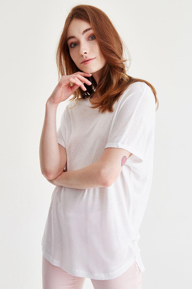 Beyaz Bot Yaka Yıkamalı Tişört
