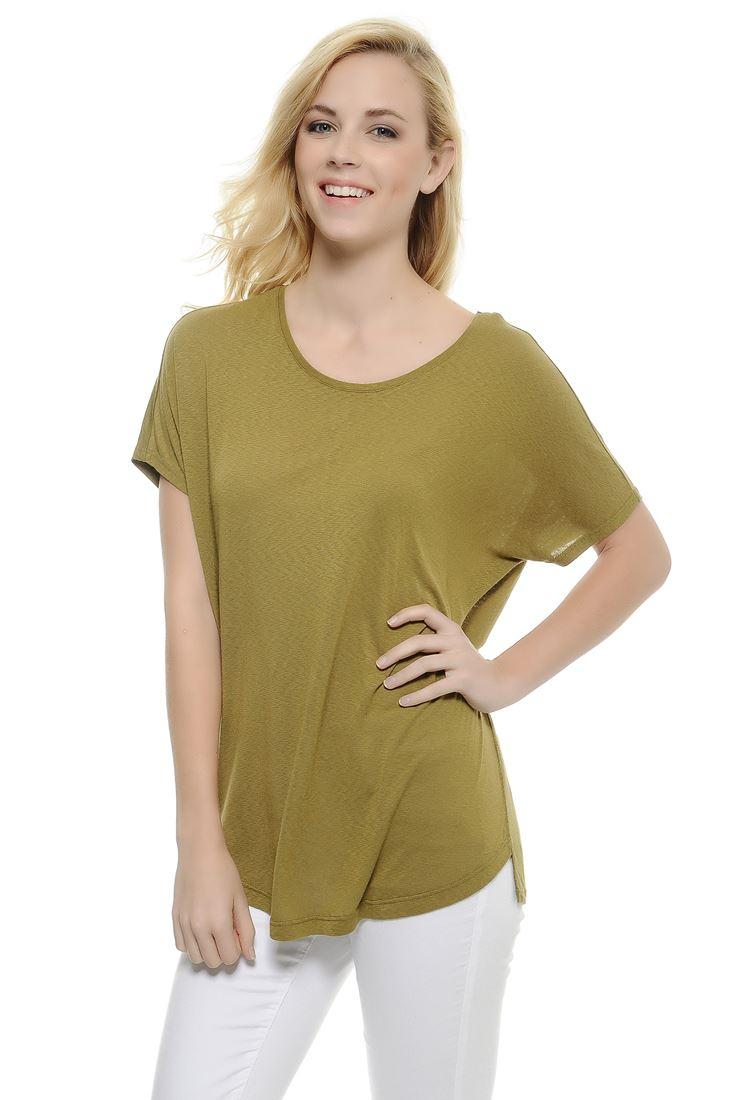 Bayan Yeşil Bot Yaka Tişört