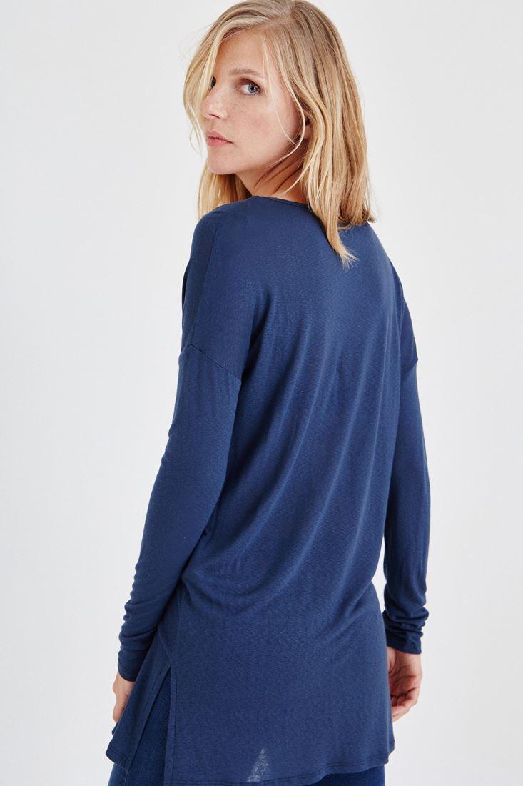 Bayan Lacivert V Yakalı Uzun Kollu Tişört