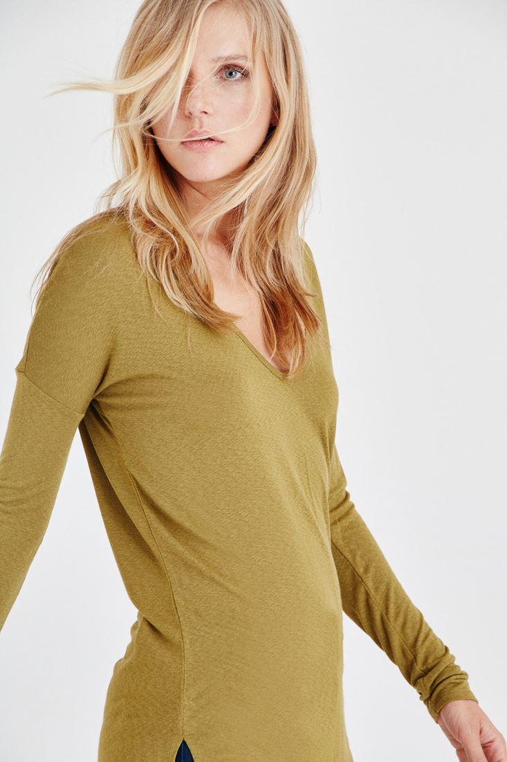 Bayan Yeşil V Yakalı Uzun Kollu Tişört