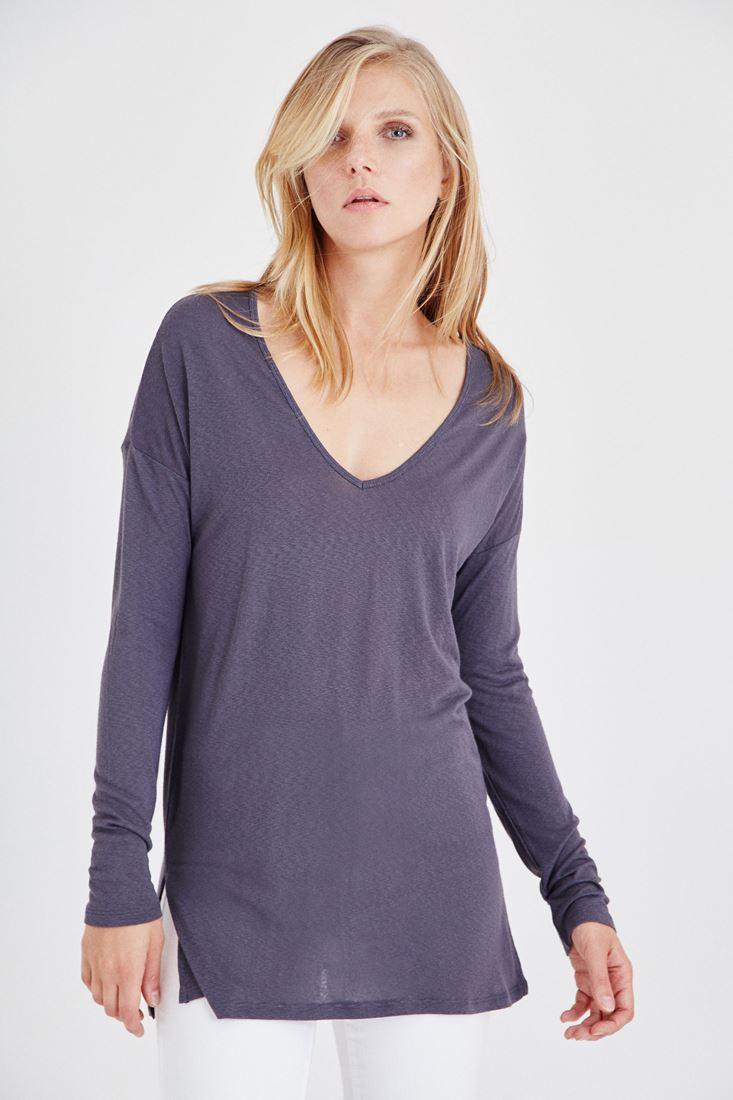 Bayan Gümüş V Yakalı Uzun Kollu Tişört