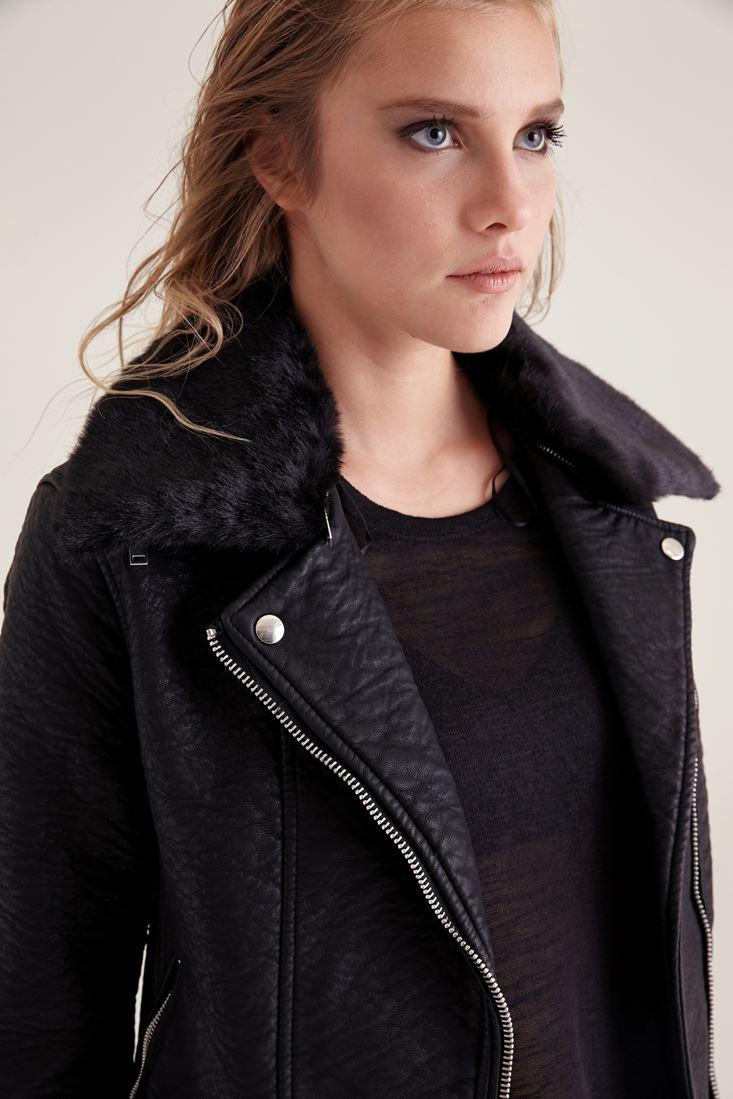 Bayan Siyah Yakası Kürk Detaylı Deri Ceket