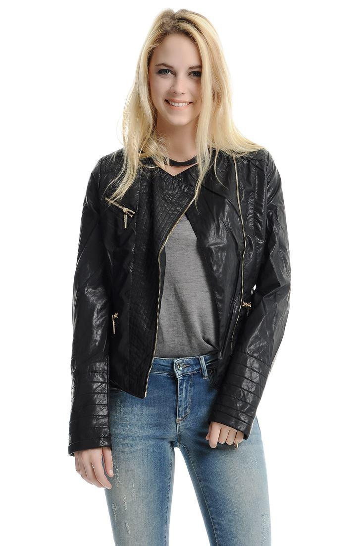 Siyah Bayan Deri Görünümlü Ceket