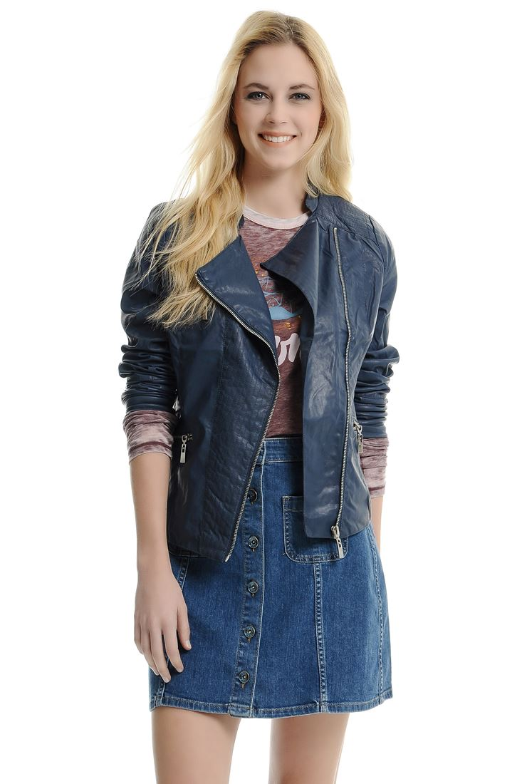 Lacivert Bayan Deri Görünümlü Ceket