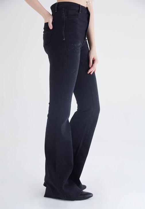 Siyah İspanyol Paça Yüksek Bel Denim Pantolon