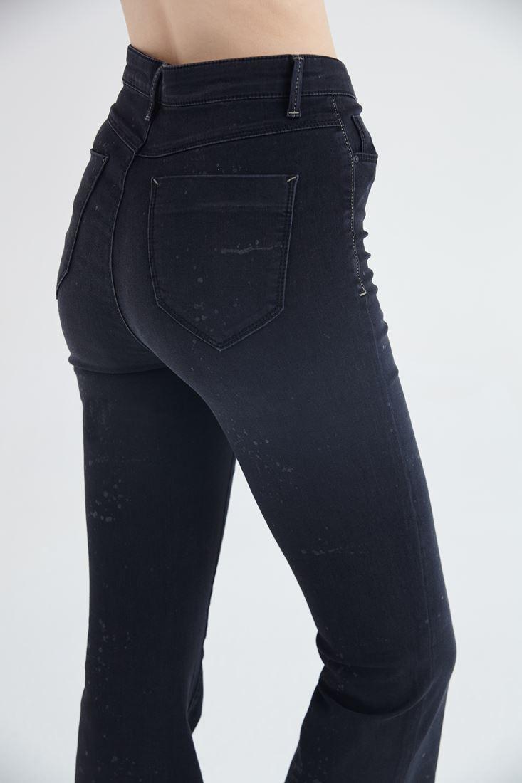 Bayan Siyah İspanyol Paça Yüksek Bel Denim Pantolon