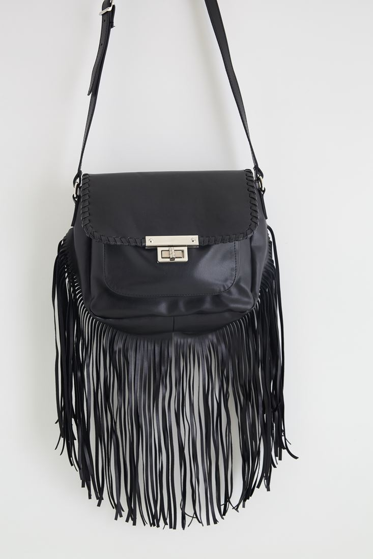Bayan Siyah Püsküllü Metal Toka Detaylı Askılı Çanta