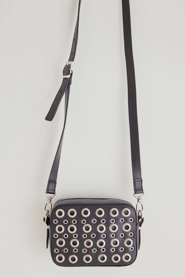 Siyah Kuşgözü Detaylı Askılı Çanta