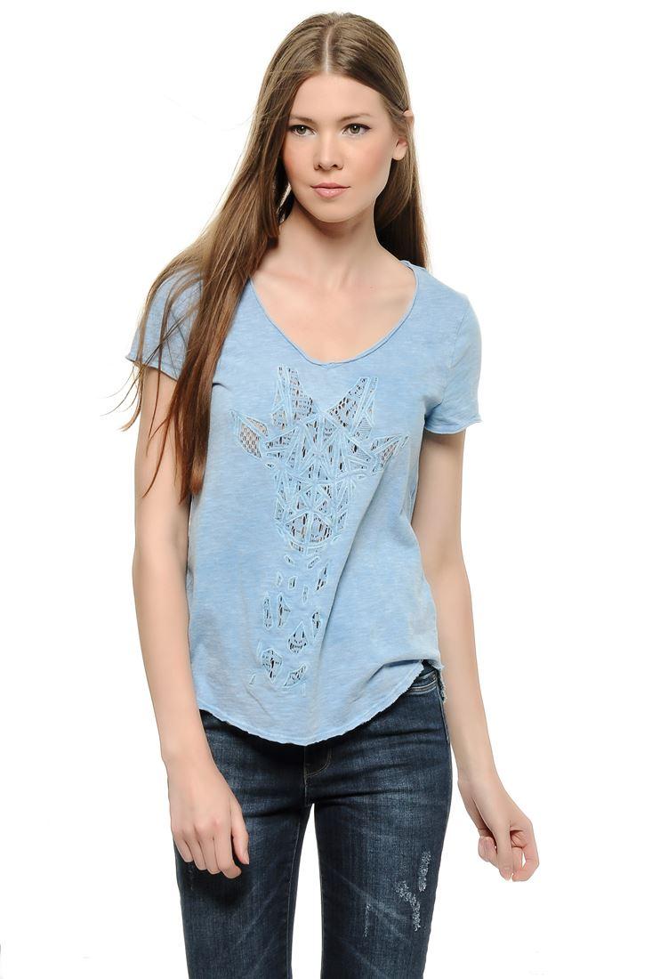 Bayan Mavi Önü Dantelli Tişört