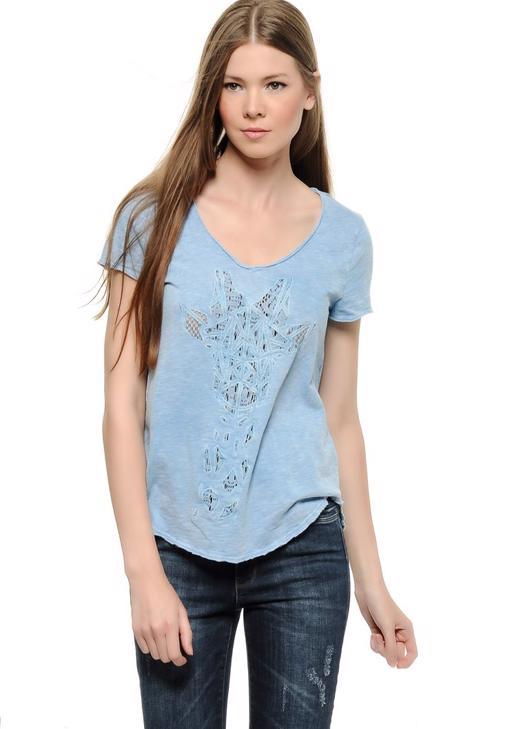 Mavi Önü Dantelli Tişört