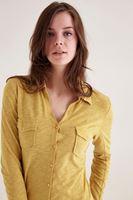 Bayan Sarı Cepli Basic Gömlek