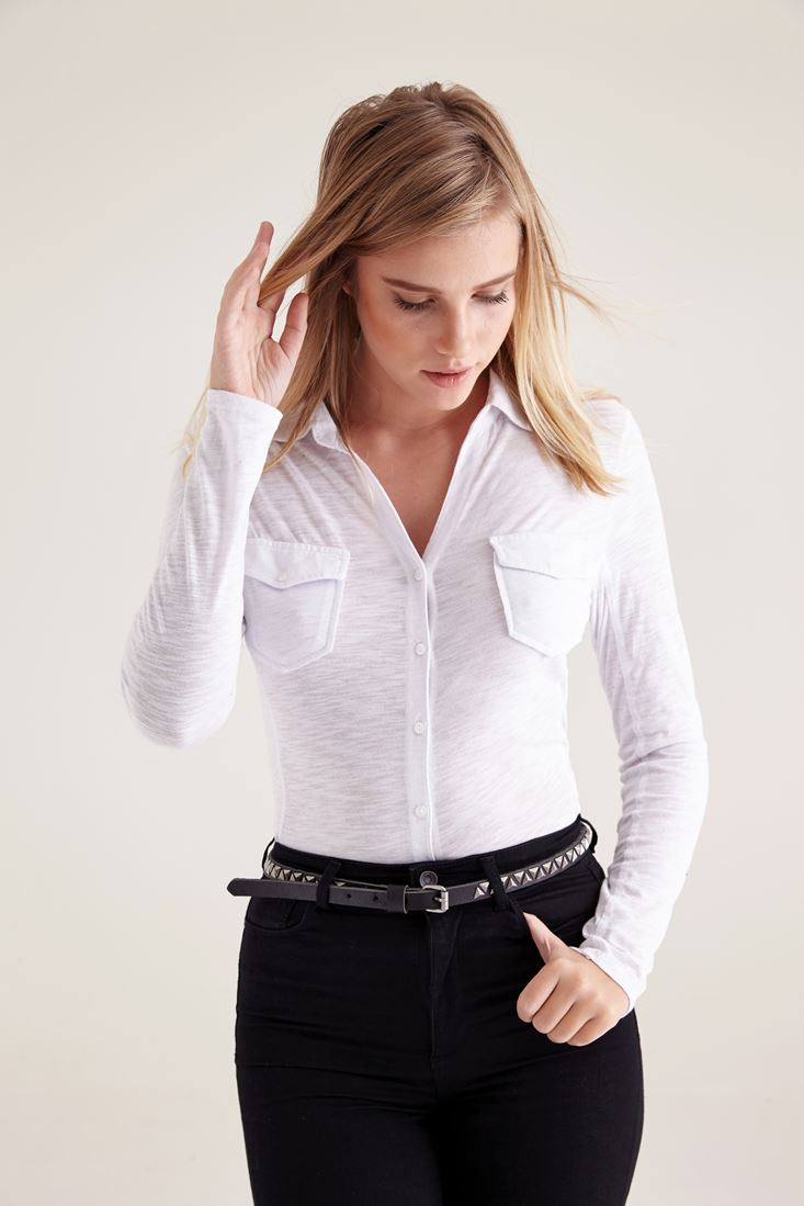 Bayan Beyaz Cepli Basic Gömlek
