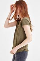 Bayan Yeşil V Yaka Basic Tişört