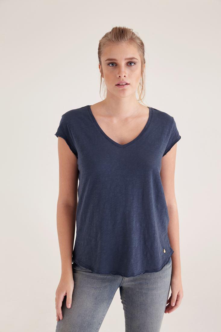 Lacivert V Yaka Basic Tişört