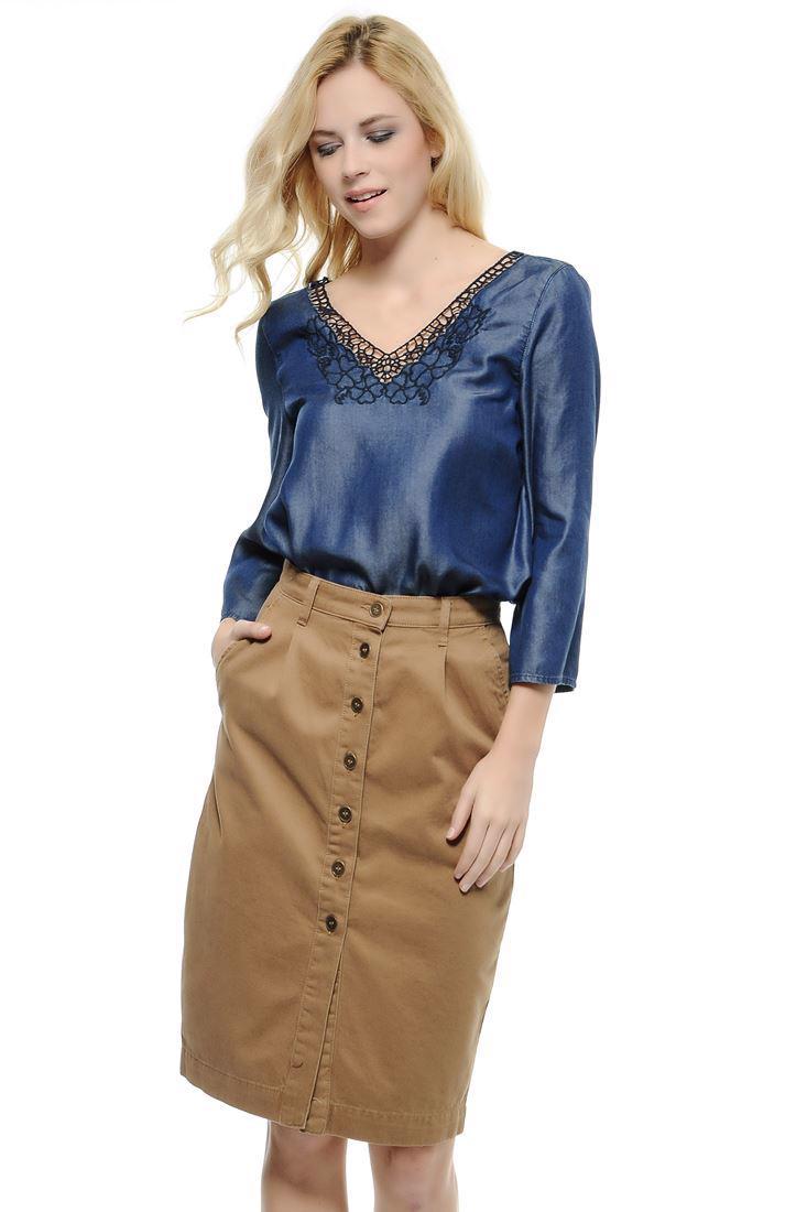 Women Blue Lyocell Denim Blouse
