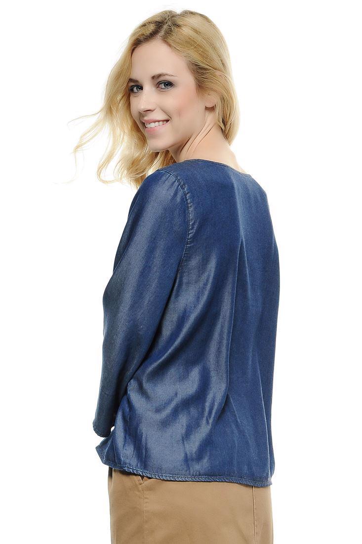 Bayan Mavi Lyocell Denim Bluz