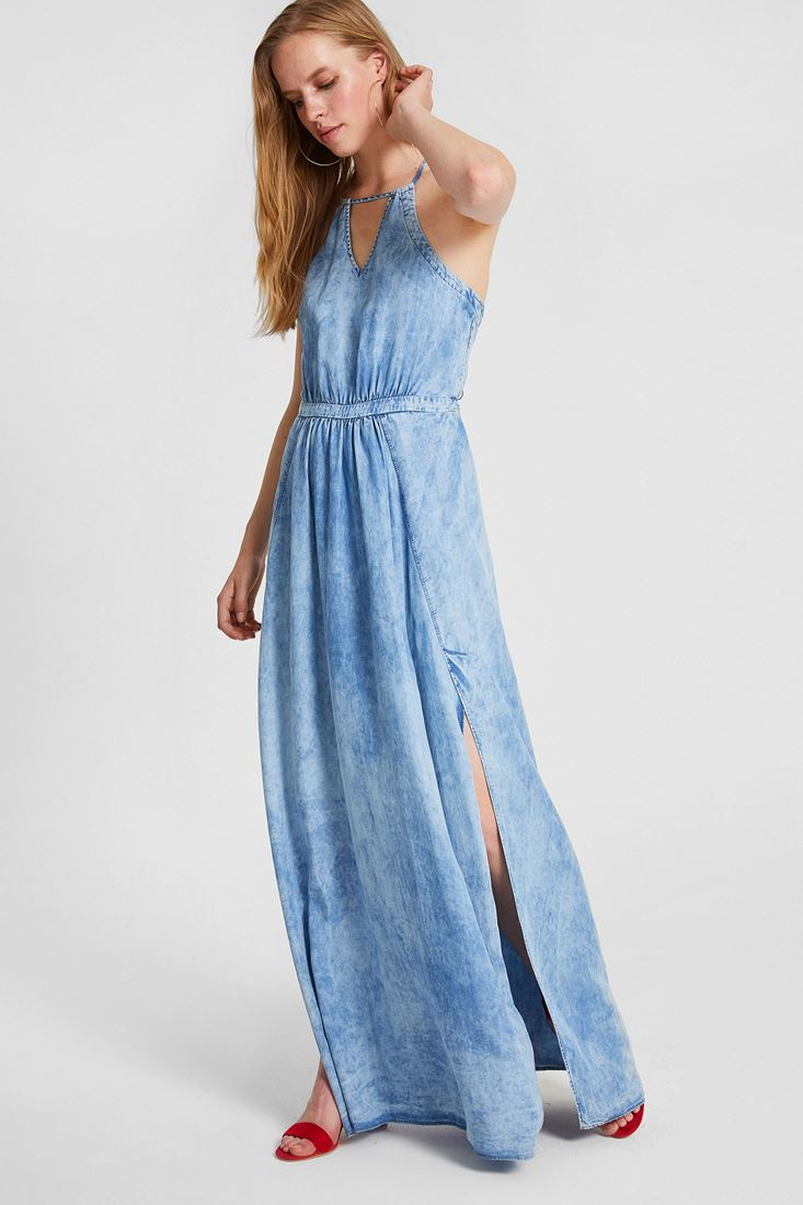 Bayan Mavi Denim Uzun Elbise