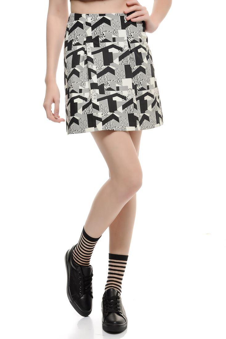 Black Geometric Printed Skirt