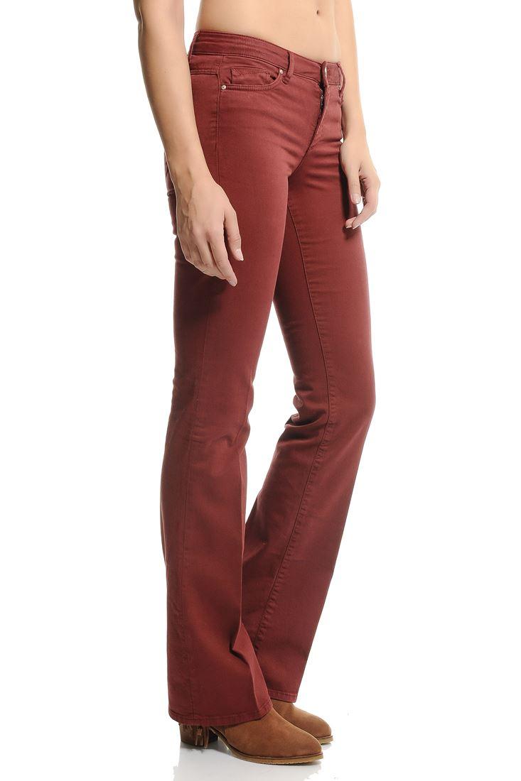 Kırmızı Bella Normal Bel Bot Paça Pantolon