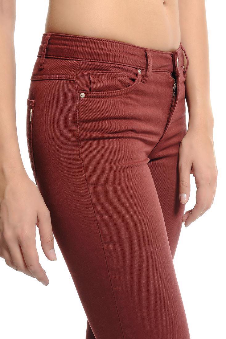 Bayan Kırmızı Bella Normal Bel Bot Paça Pantolon