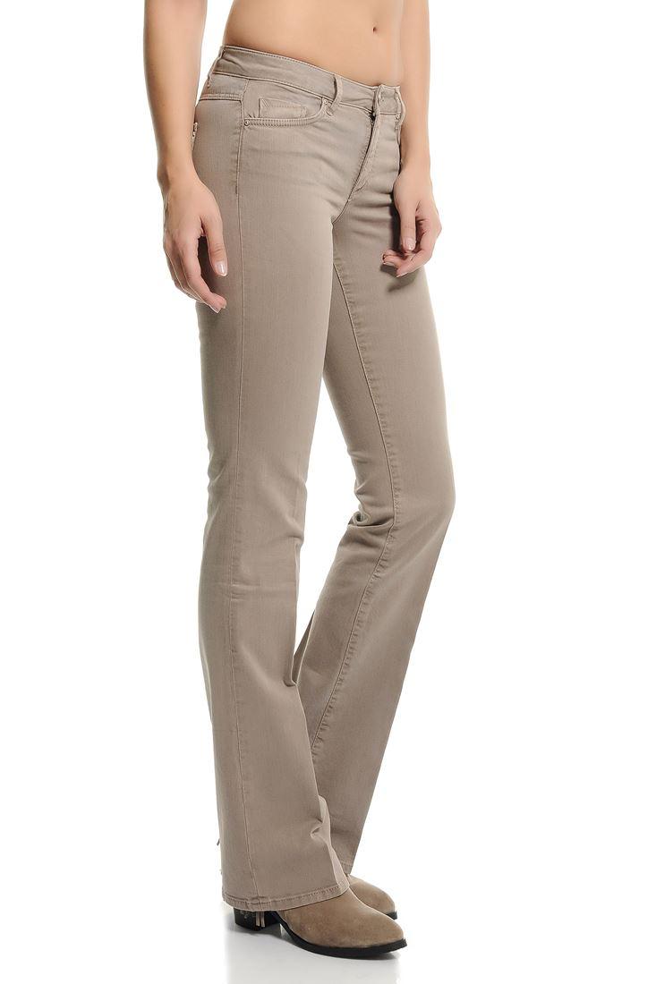 Bayan Krem Bella Normal Bel Bot Paça Pantolon
