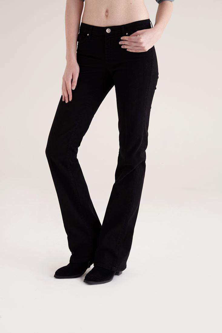 Bayan Siyah Bella Normal Bel Bot Paça Pantolon