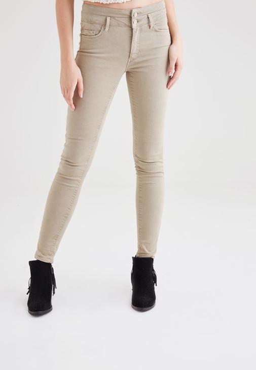 Krem Yüksek Bel Skinny Pantolon