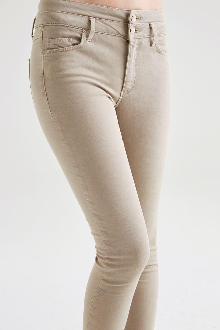 Bayan Krem Yüksek Bel Skinny Pantolon